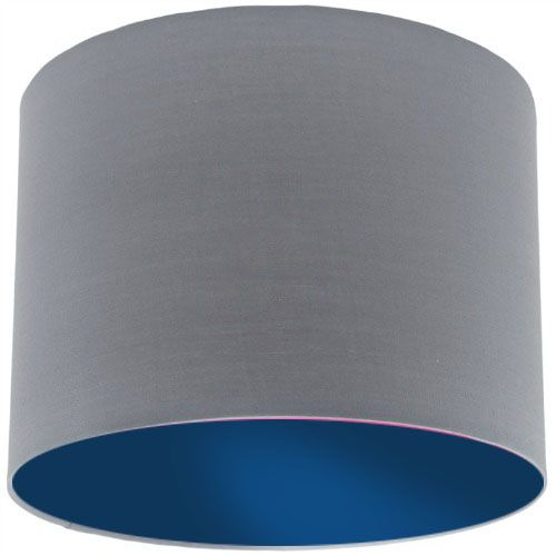 Grey Lamp Shade With Dark Blue Lining