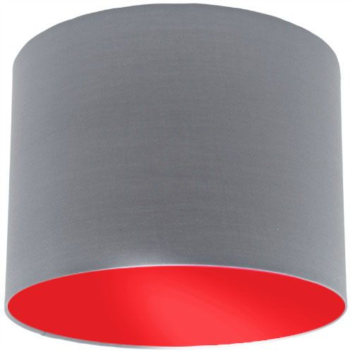 Grey Lamp Shade With Red Lining