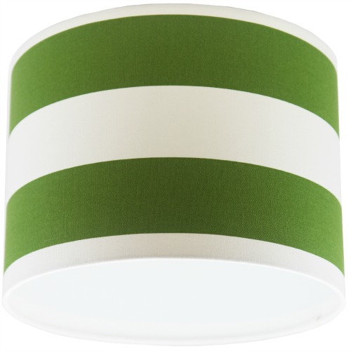 Green and White Stripey Drum Lampshade