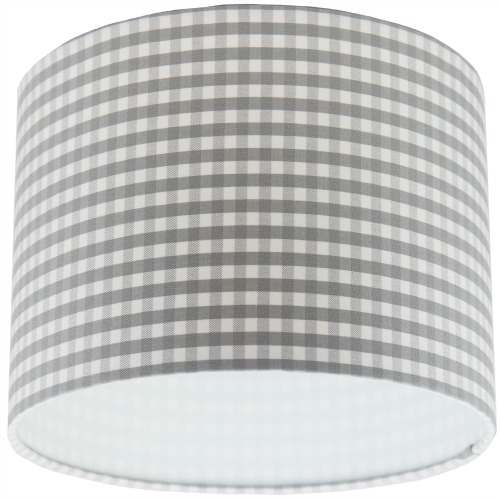 Grey and white gingham drum lampshade aloadofball Image collections