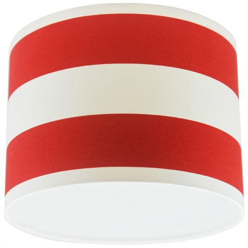 Red and White Stripey Drum Lampshade