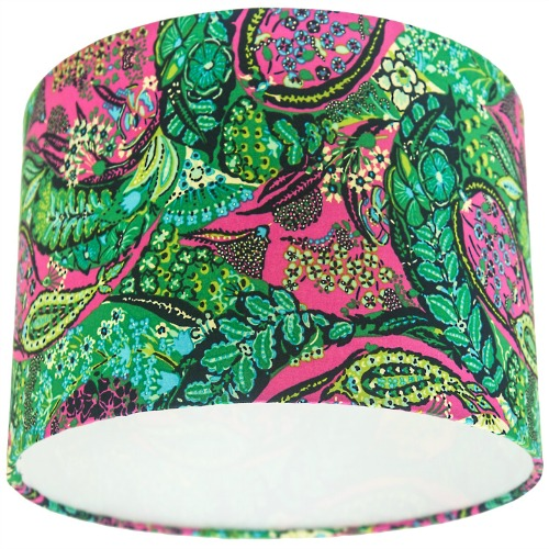 Amy Butler Glow Jolie Berry Green & Pink Drum Lampshade