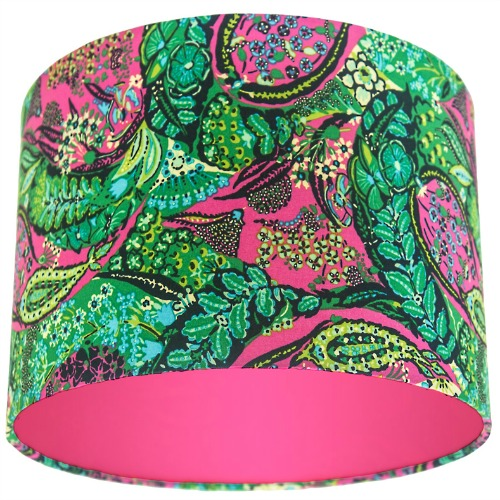 Amy Butler Glow Jolie Berry Green & Pink Paisley Drum Lampshade with Choice of Coloured Lining