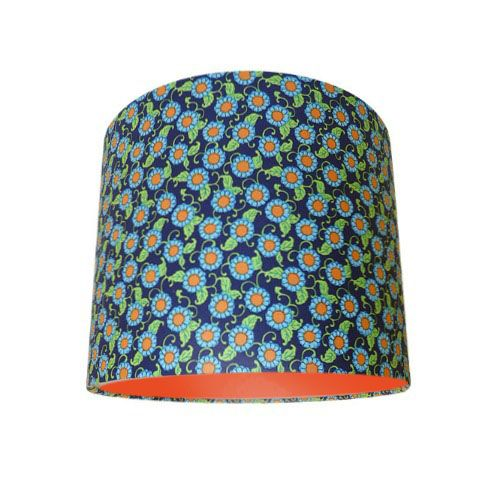 Amy Butler Lark Button Flowers Navy Blue & Orange Drum Lampshade with Choice of Coloured Lining