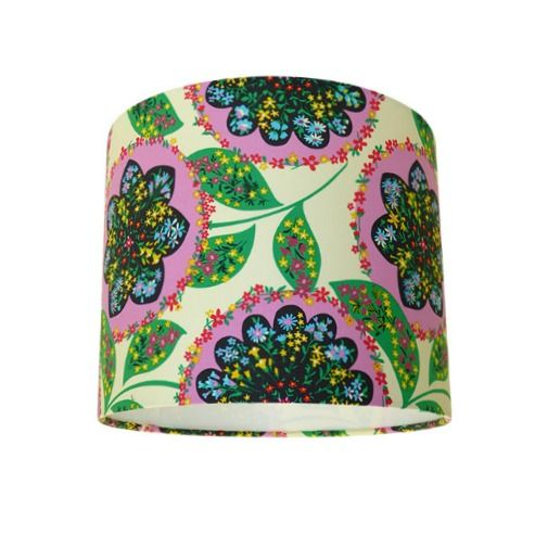 Amy Butler Lark Charisma Blush Floral Pink Yellow Drum Lampshade