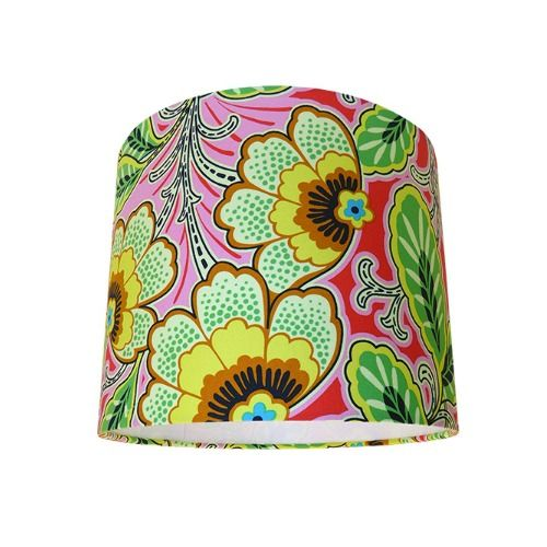 Amy Butler Lark Floral Couture Berry Yellow Pink Drum Lampshade