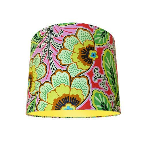 Amy Butler Lark Floral Couture Berry Yellow Pink Drum Lampshade with Choice of Coloured Lining