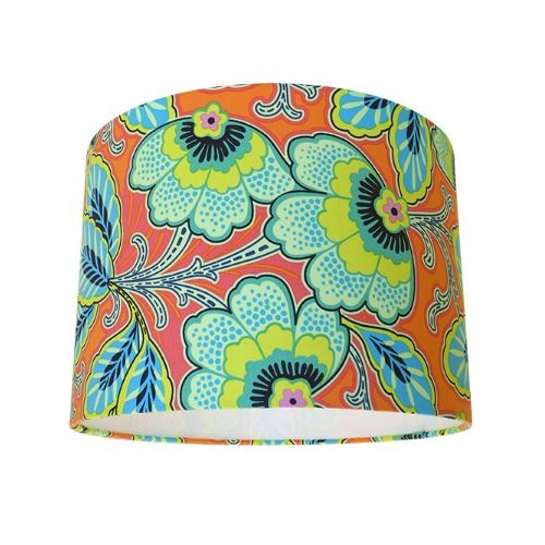 Amy butler lark floral couture mandarin orange blue drum lampshade mozeypictures Gallery