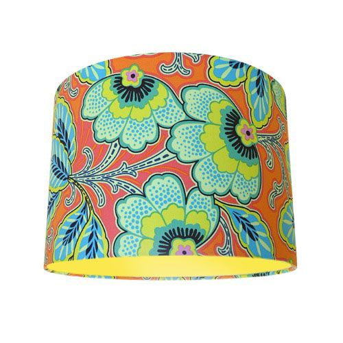 Amy Butler Lark Floral Couture Mandarin Orange Blue Drum Lampshade with Choice of Coloured Lining
