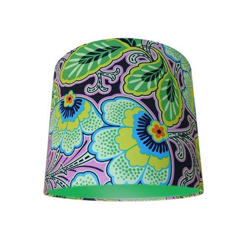 Amy Butler Lark Floral Couture Pitch Green Drum Lampshade with Choice of Coloured Lining