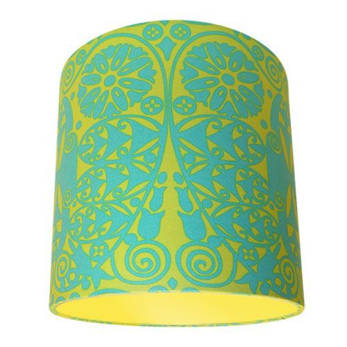 Amy Butler Soul Blossoms Temple Doors Green & Yellow Drum Lampshade with Choice of Coloured Lining