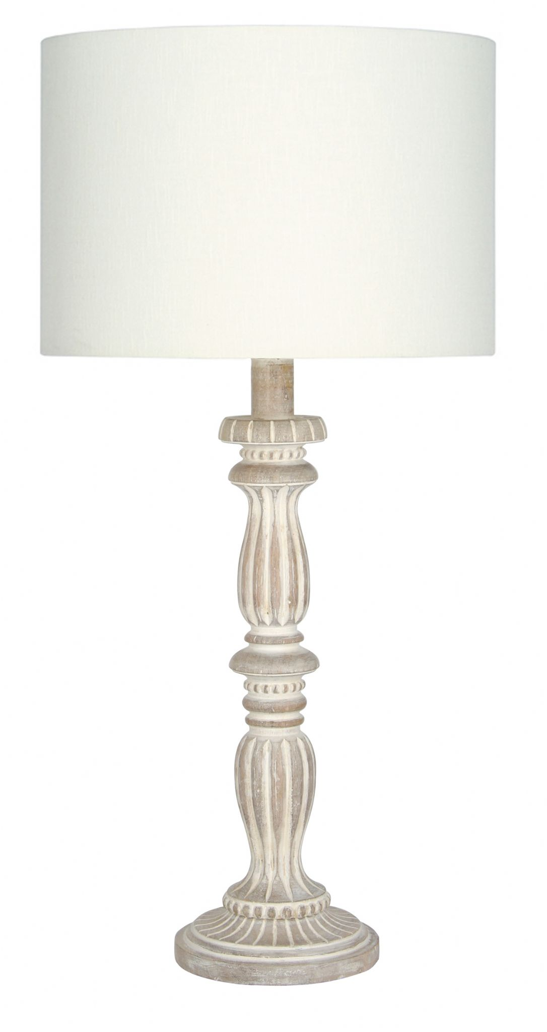 Antique Cream Wash Wood Table Lamp Base