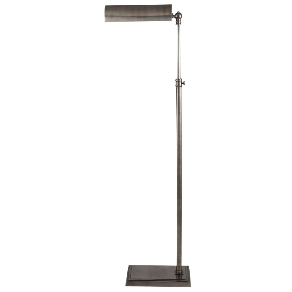 Antique silver adjustable reading floor lamp with shade aloadofball Image collections