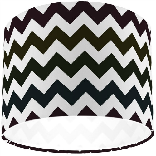 Black Chevron Zig Zag Drum Lamp Shade