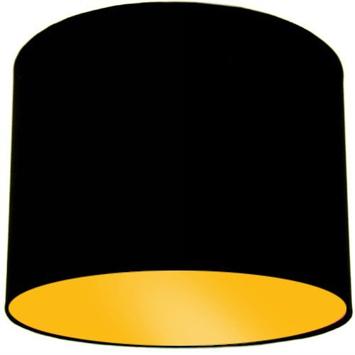 Black Lamp Shade with Bright Yellow Lining