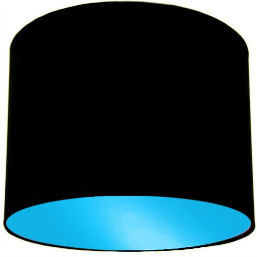Black Lamp Shade with Light Blue Lining