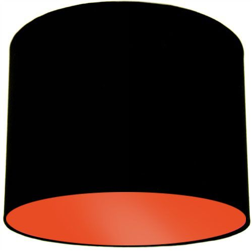 Black Lamp Shade with Orange Lining