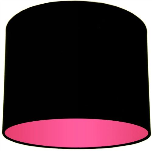 Black Lamp Shade With Pink Rose Lining