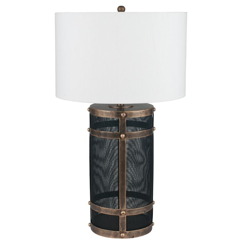 Black mesh antique gold table lamp with shade for Gold mesh floor lamp