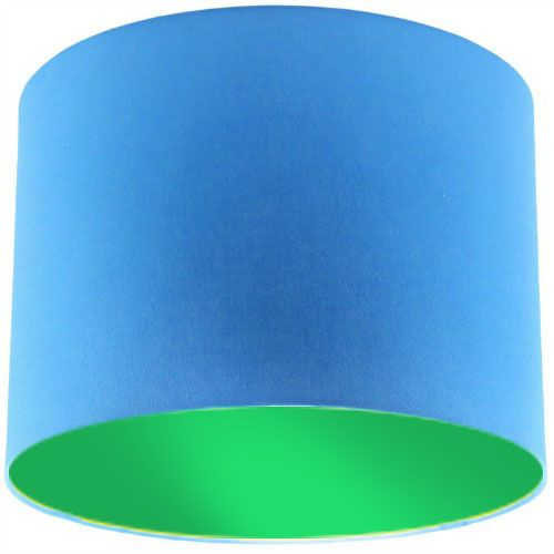 Blue Lamp Shade with Apple Green Lining