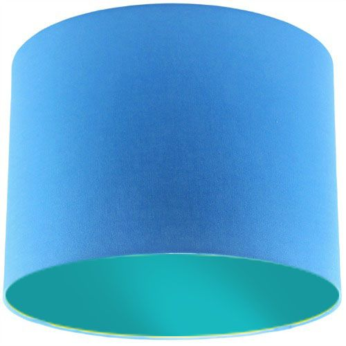 Blue Lamp Shade with Aqua Green Lining