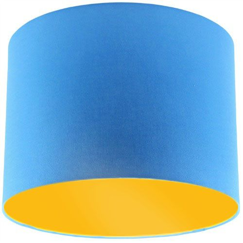 Blue Lamp Shade with Bright Yellow Lining