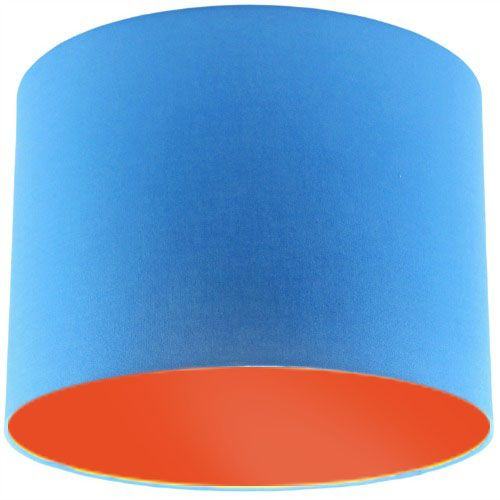 Blue Lamp Shade with Orange Lining