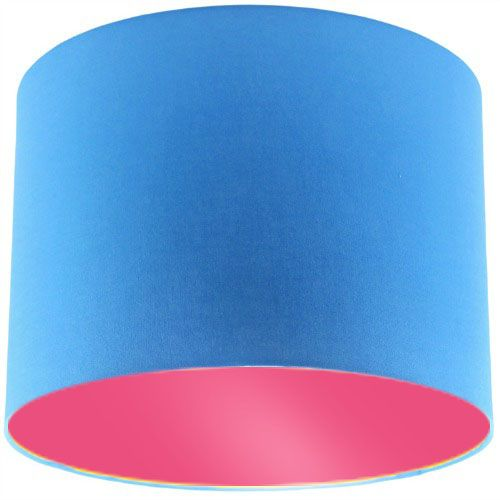 Blue Lamp Shade with Pink Rose Lining