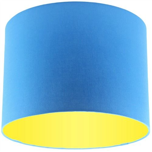 Blue Lamp Shade with Primrose Lining