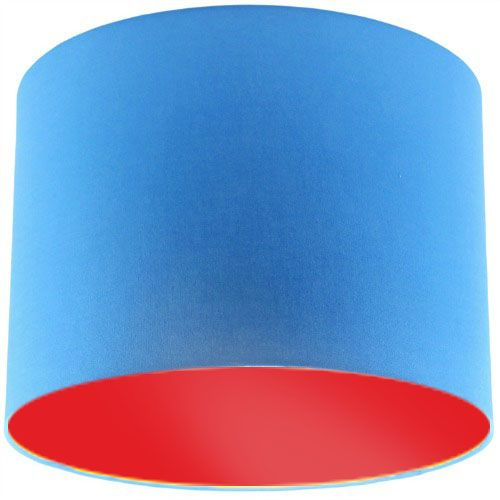 Blue Lamp Shade with Red Lining