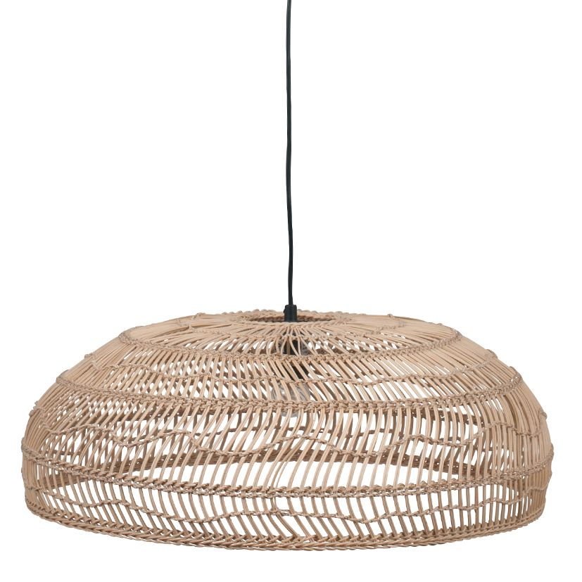 Cane Ribbed Shallow Electrified Ceiling Pendant Light