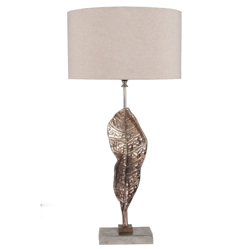 Champagne sculptured leaf table lamp with beige lamp shade aloadofball Image collections