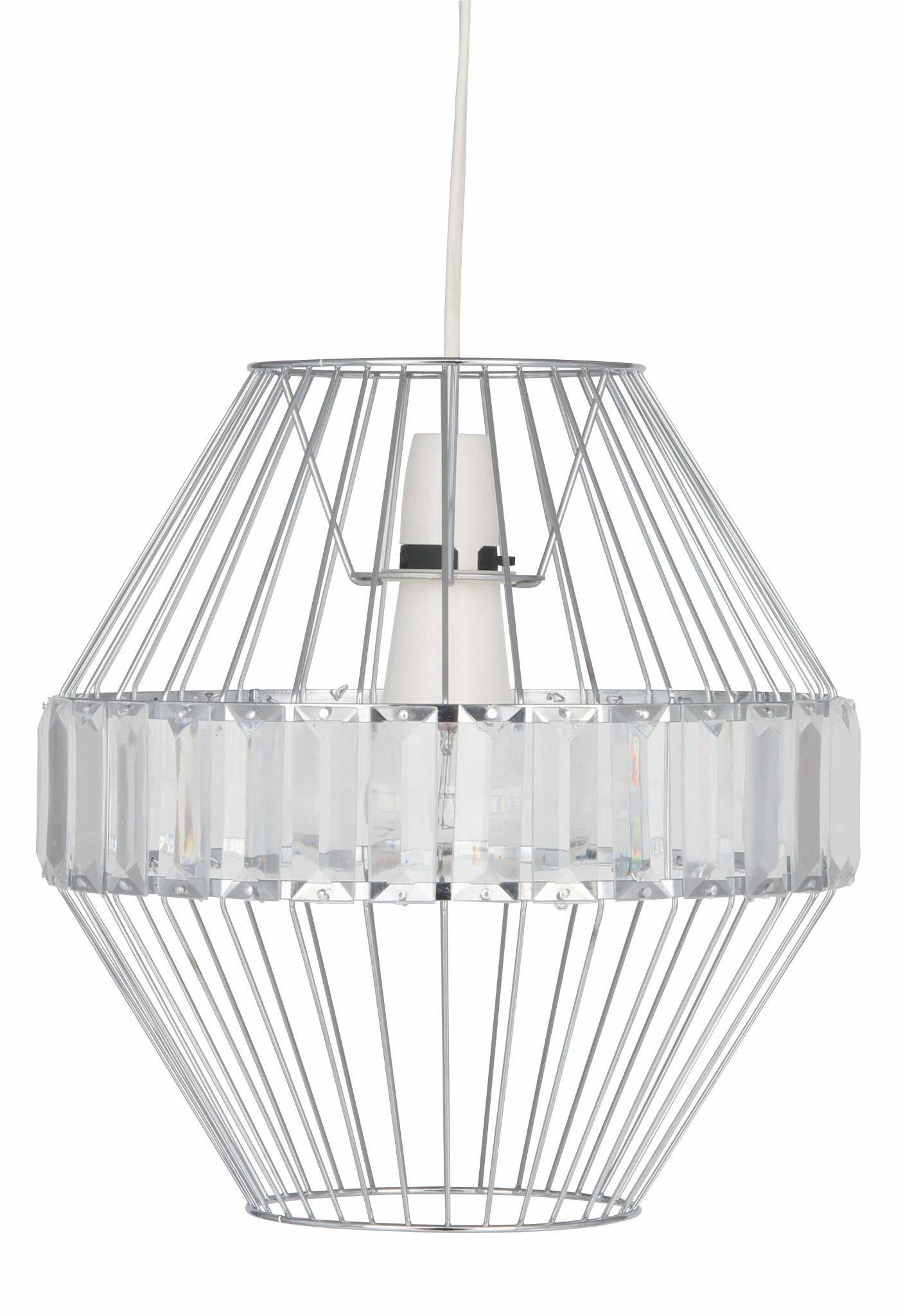 Chrome beaded easy fit ceiling pendant light aloadofball Image collections