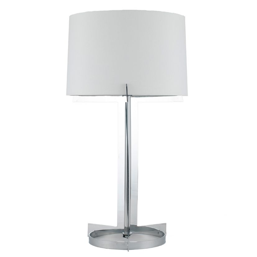 Chrome hotel table lamp with round foot and lamp shade aloadofball Gallery