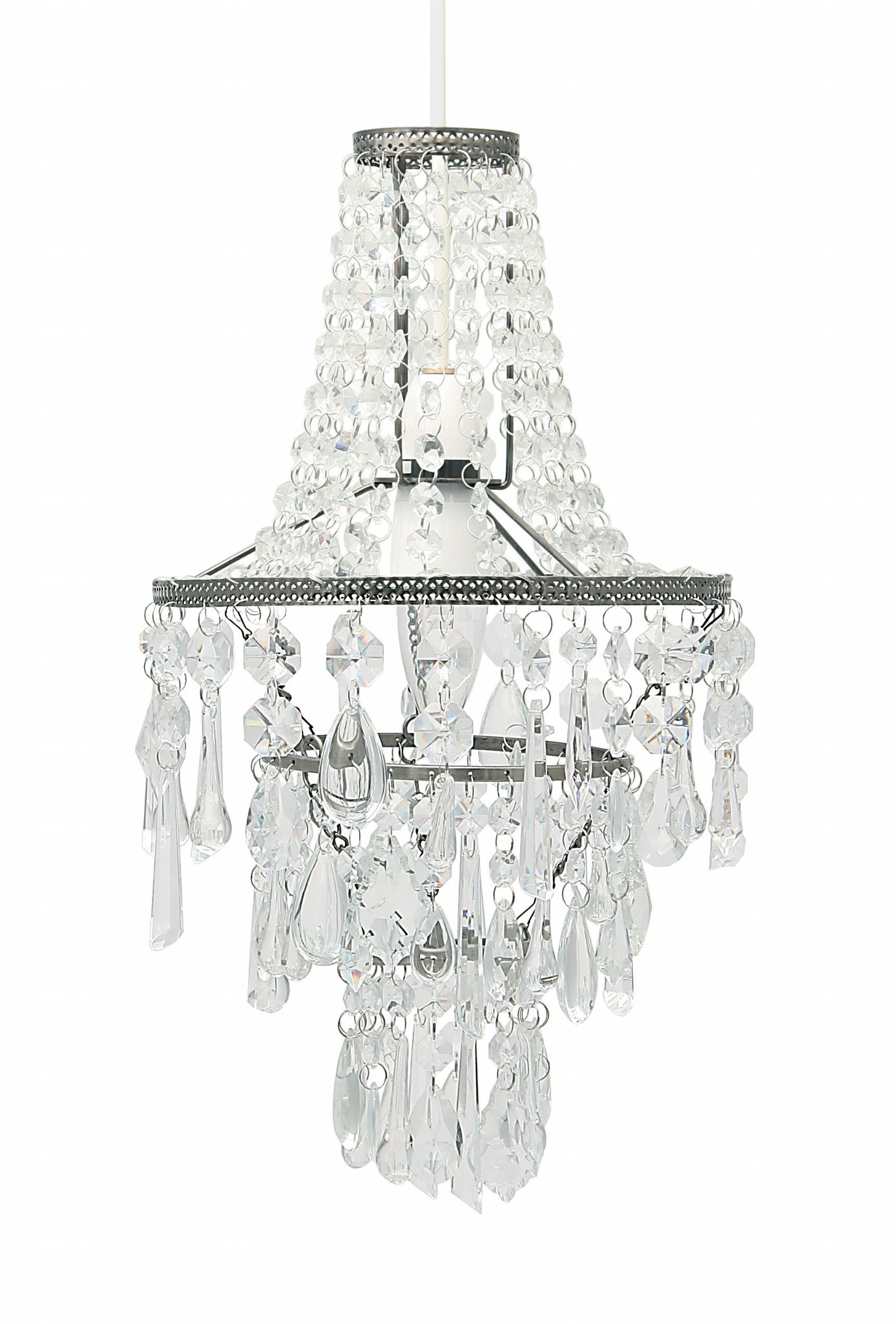 Clear Glass and Acrylic 3 Tier Easy Fit Ceiling Pendant Light