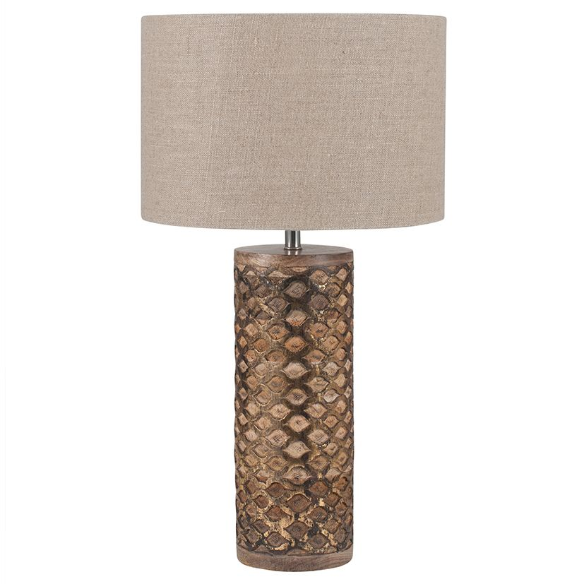 Cylinder wooden gold leaf table lamp with a natural linen lamp shade aloadofball Gallery