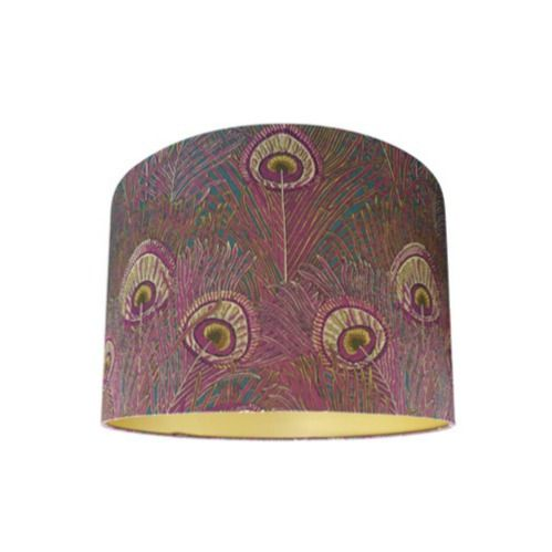 Drum Lamp Shade Made with Liberty Hera Anemone Peacock Feather Fabric with Gold Lining