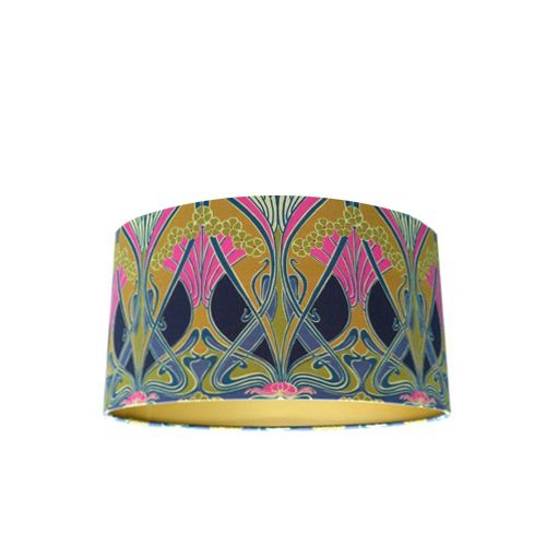 Drum Lamp Shade Made with Liberty Ianthe Flower Lasenby Fabric with Gold Lining