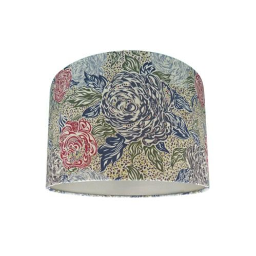 Drum Lamp Shade Made with Liberty Kate Ada Mosaic Floral Fabric with Champagne Lining