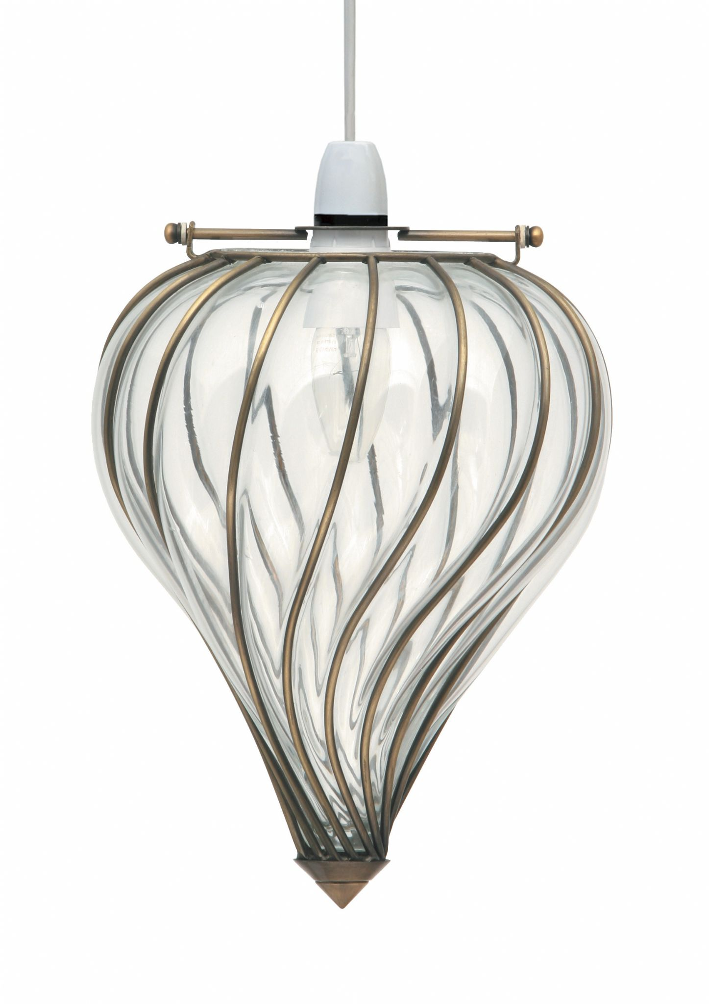 Glass Windsock In Ant Brass Easy Fit Ceiling Pendant Light
