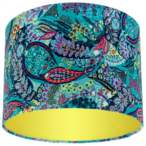 Glow Jolie Azure Blue Paisley Drum Lampshade with Choice of Coloured Lining