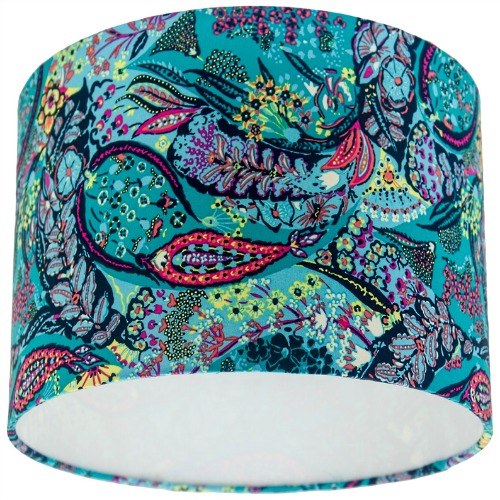 Glow Jolie Azure Paisley Drum Lamp Shade, Blue