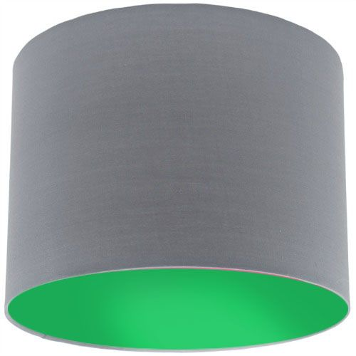 Grey Lamp Shade with Apple Green Lining