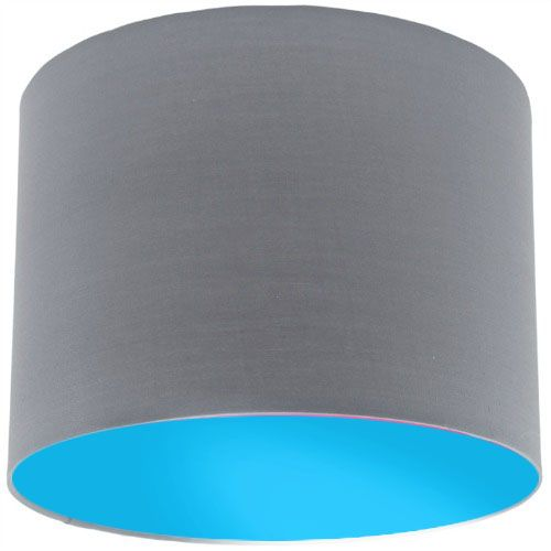 Grey Lamp Shade with Light Blue Lining