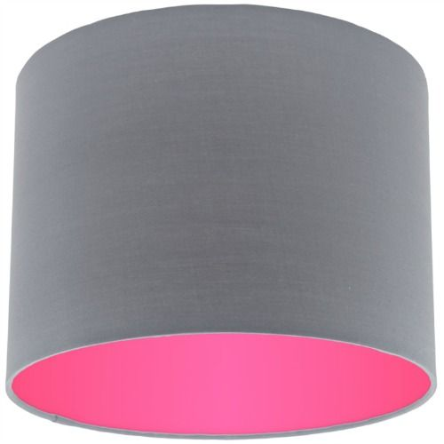 Grey lamp shade with pink rose lining aloadofball Gallery