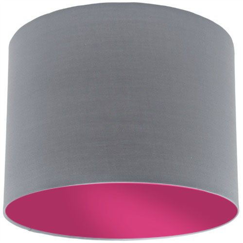 Grey Lamp Shade with Violet Lining