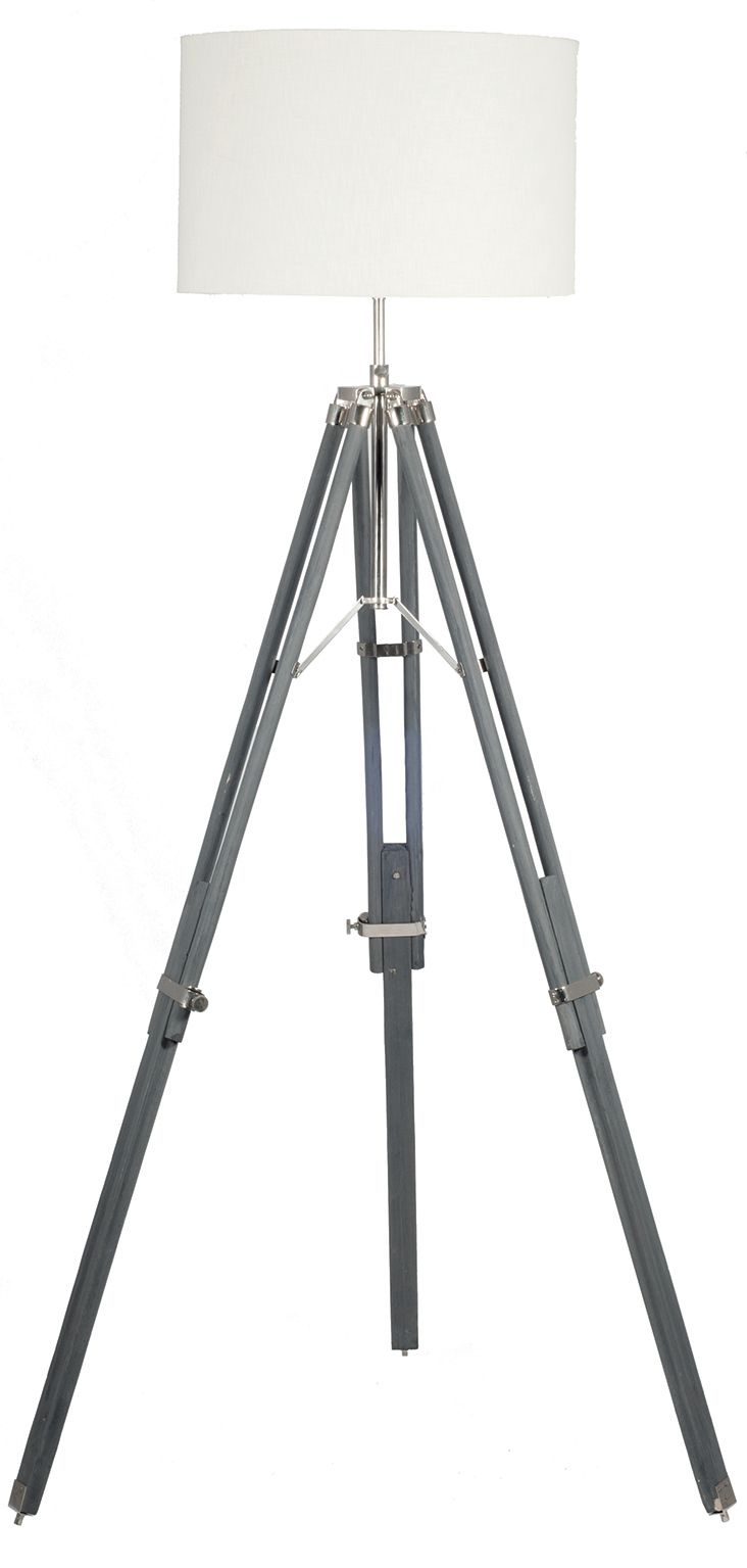 Grey wood tripod floor lamp base aloadofball Gallery