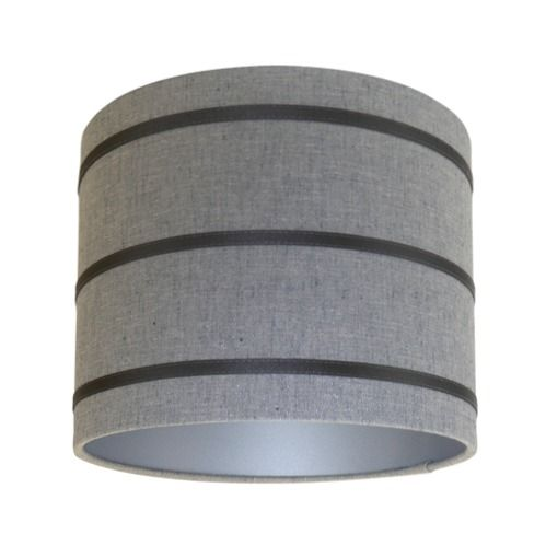 Harlequin Lois Graphite Charcoal Stripe Fabric Drum Lampshade with Silver Lining