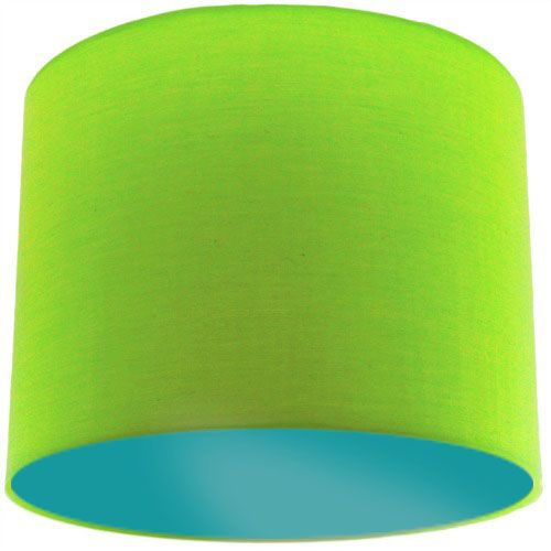 Lime Green Lamp Shade with Aqua Green Lining