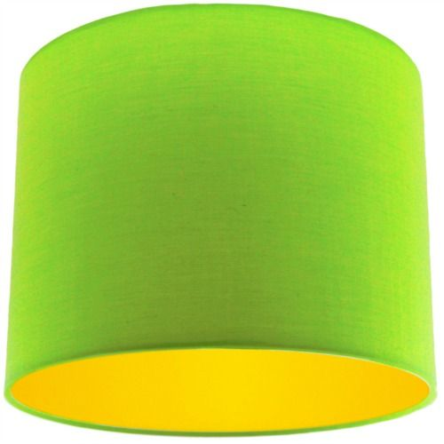 Lime Green Lamp Shade with Bright Yellow Lining